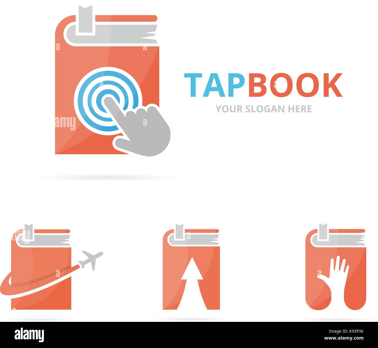 Set Of Book Logo Combination Novel And Cursor Symbol Or