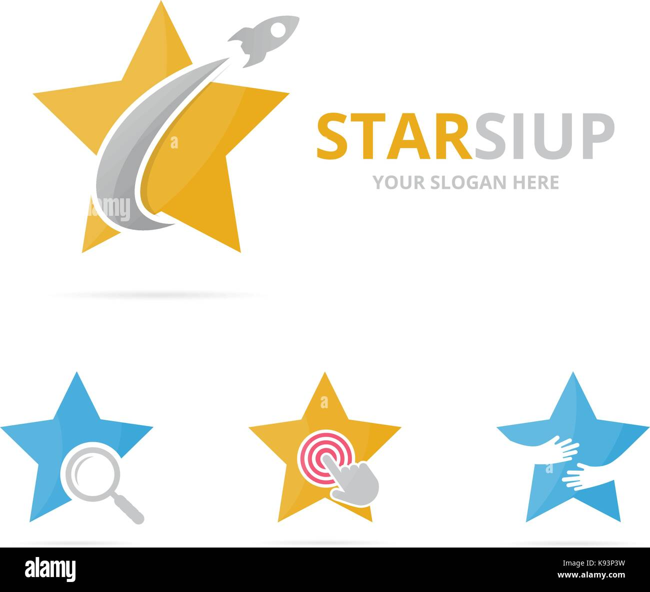 Set of star logo combination. Leader and airplane symbol or icon. Unique flight and team logotype design template. - Stock Vector