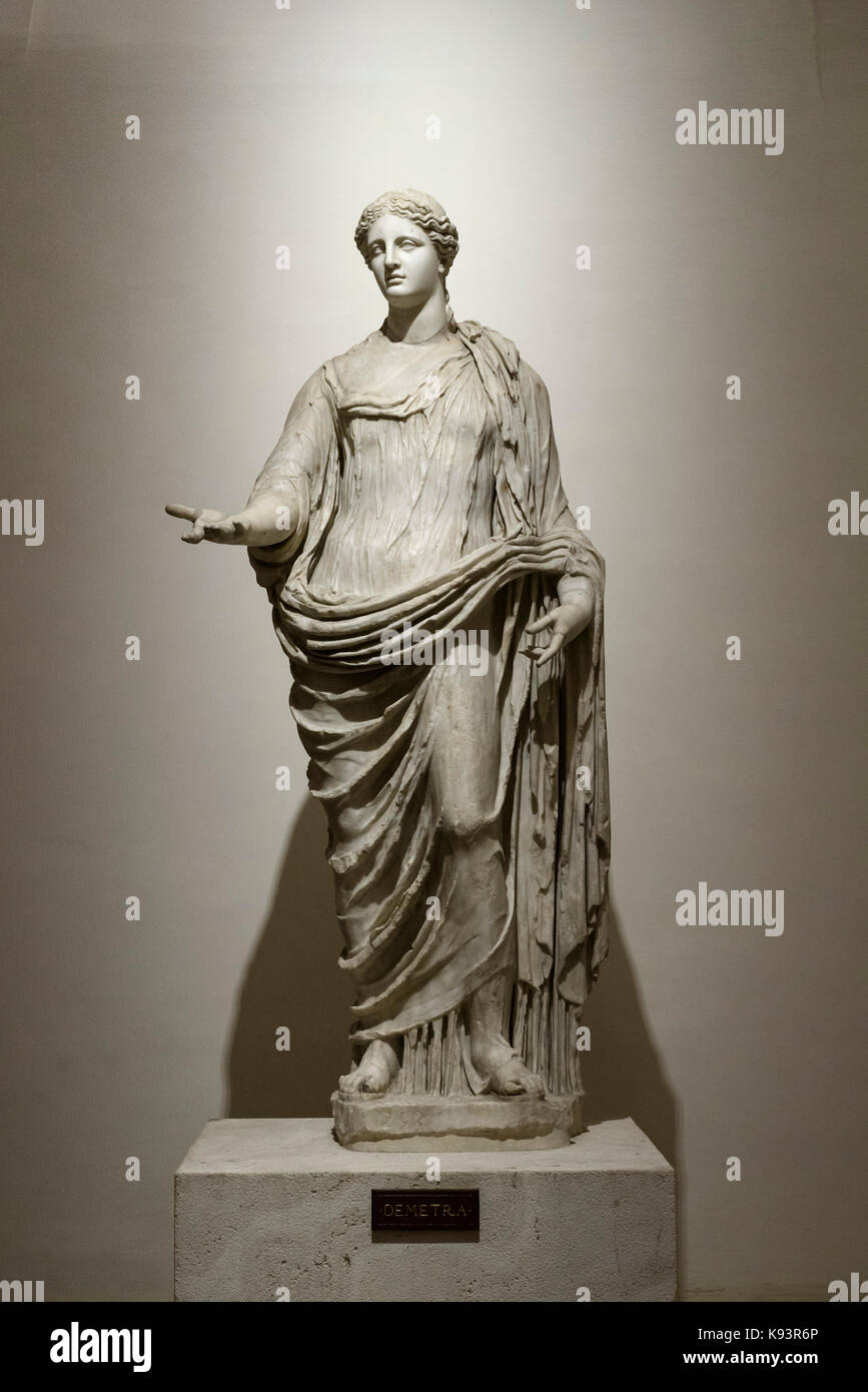 Rome. Italy. 2nd century A.D. statue of Demeter, goddess of the harvest, thought to be based on a Greek original - Stock Image