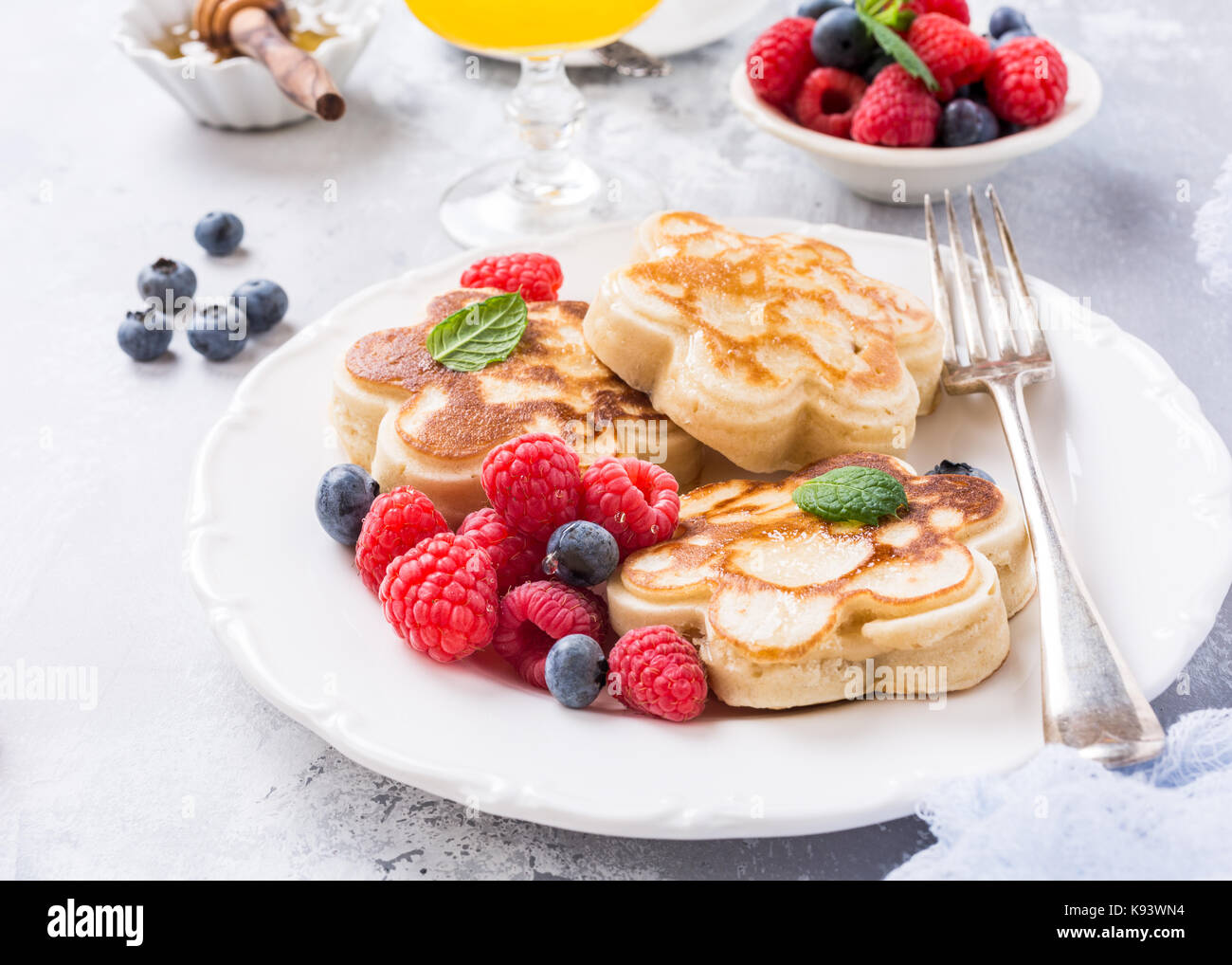 Breakfast with scotch pancakes - Stock Image