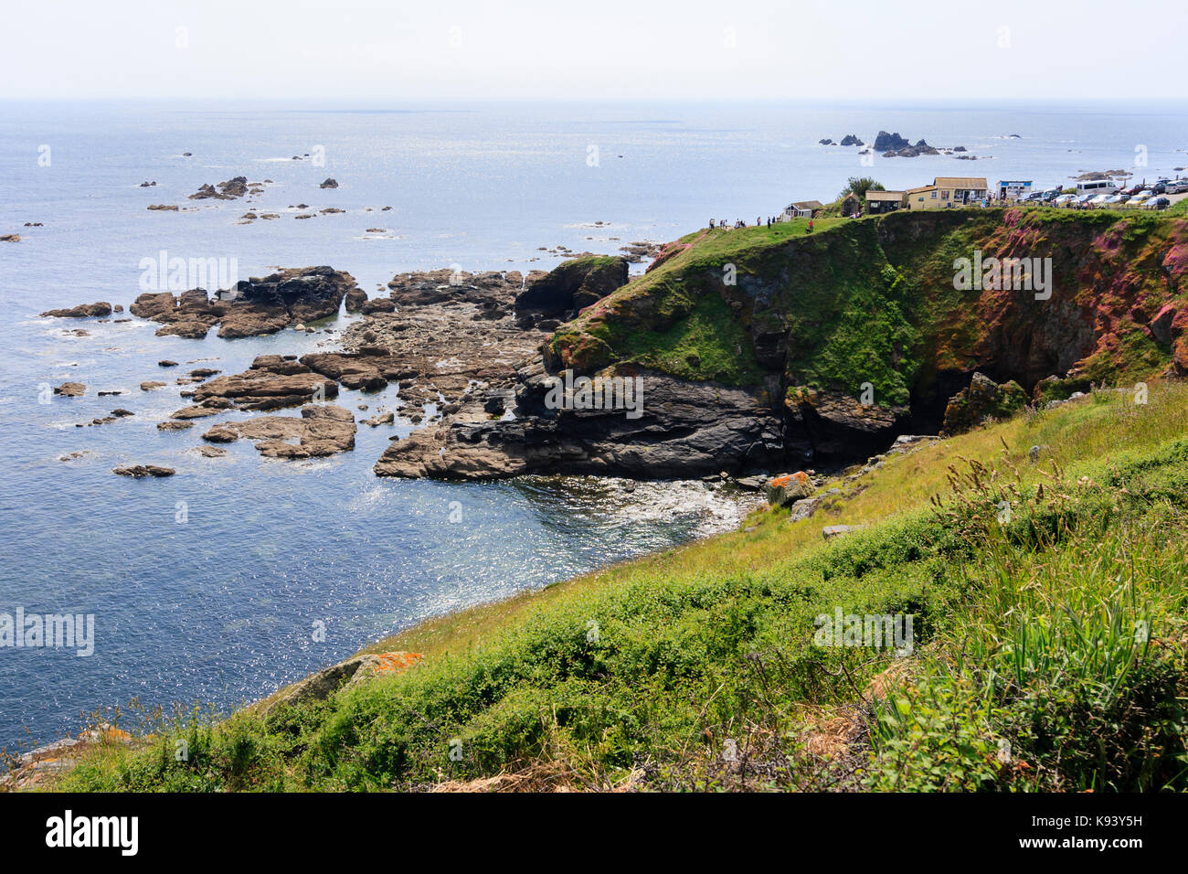 The headland of the The Lizard Point, Cornwall, mainland UK's most southerly point - Stock Image