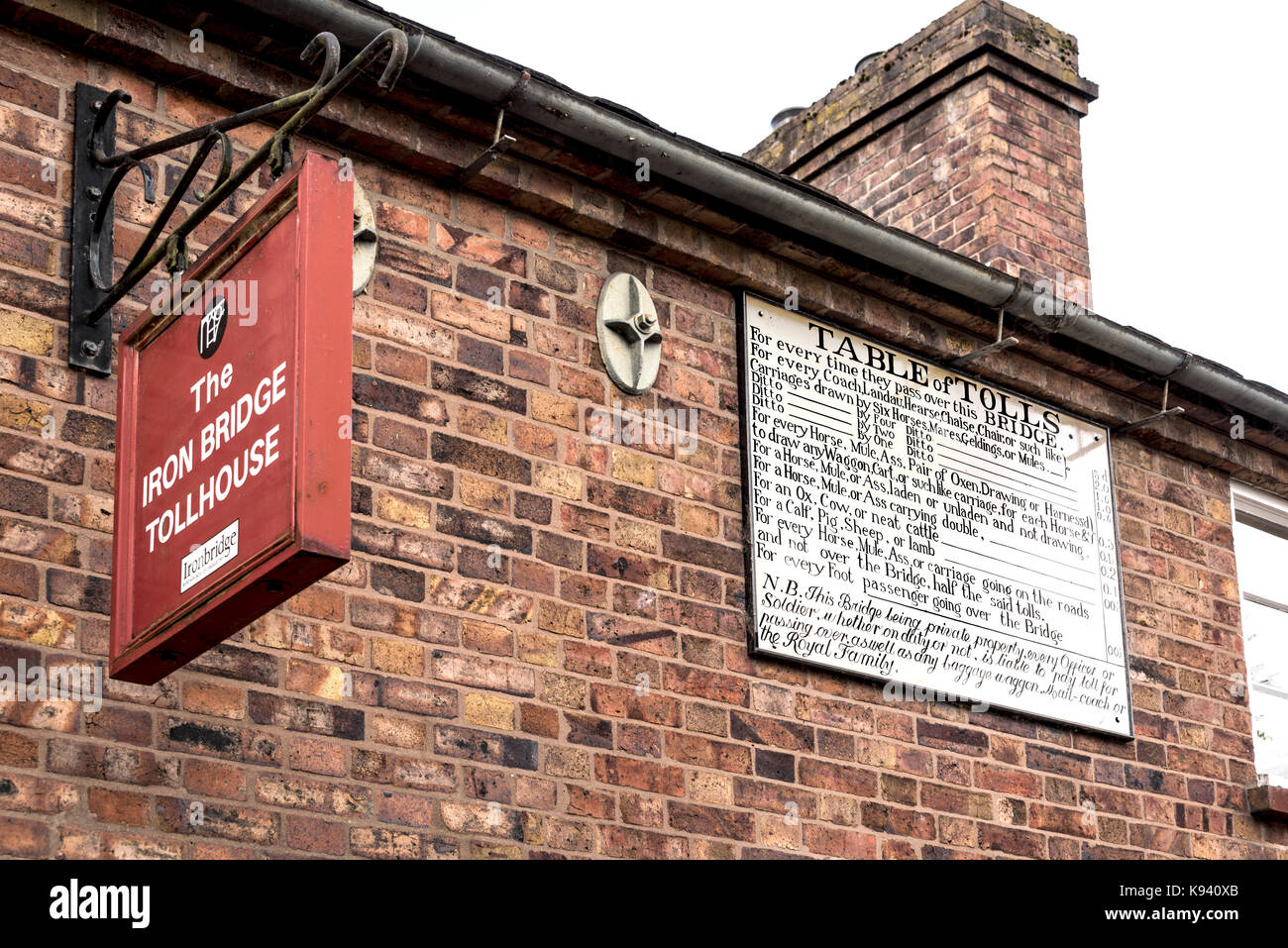 Telford Iron Bridge, tollhouse sign charges, vintage board showing tariff. - Stock Image