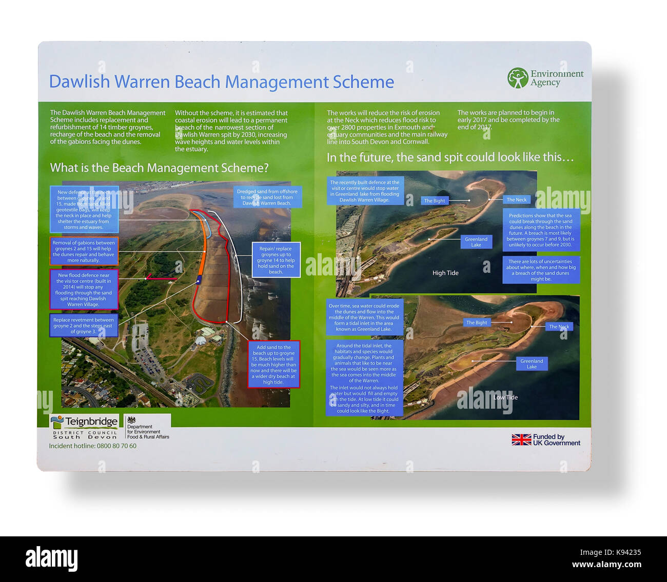 Dawlish Warren Beach Management Sign - Devon - Stock Image
