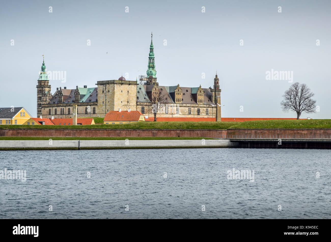 Exterior view of Kronborg Castle, Helsingor, Denmark seen from across the moat. - Stock Image
