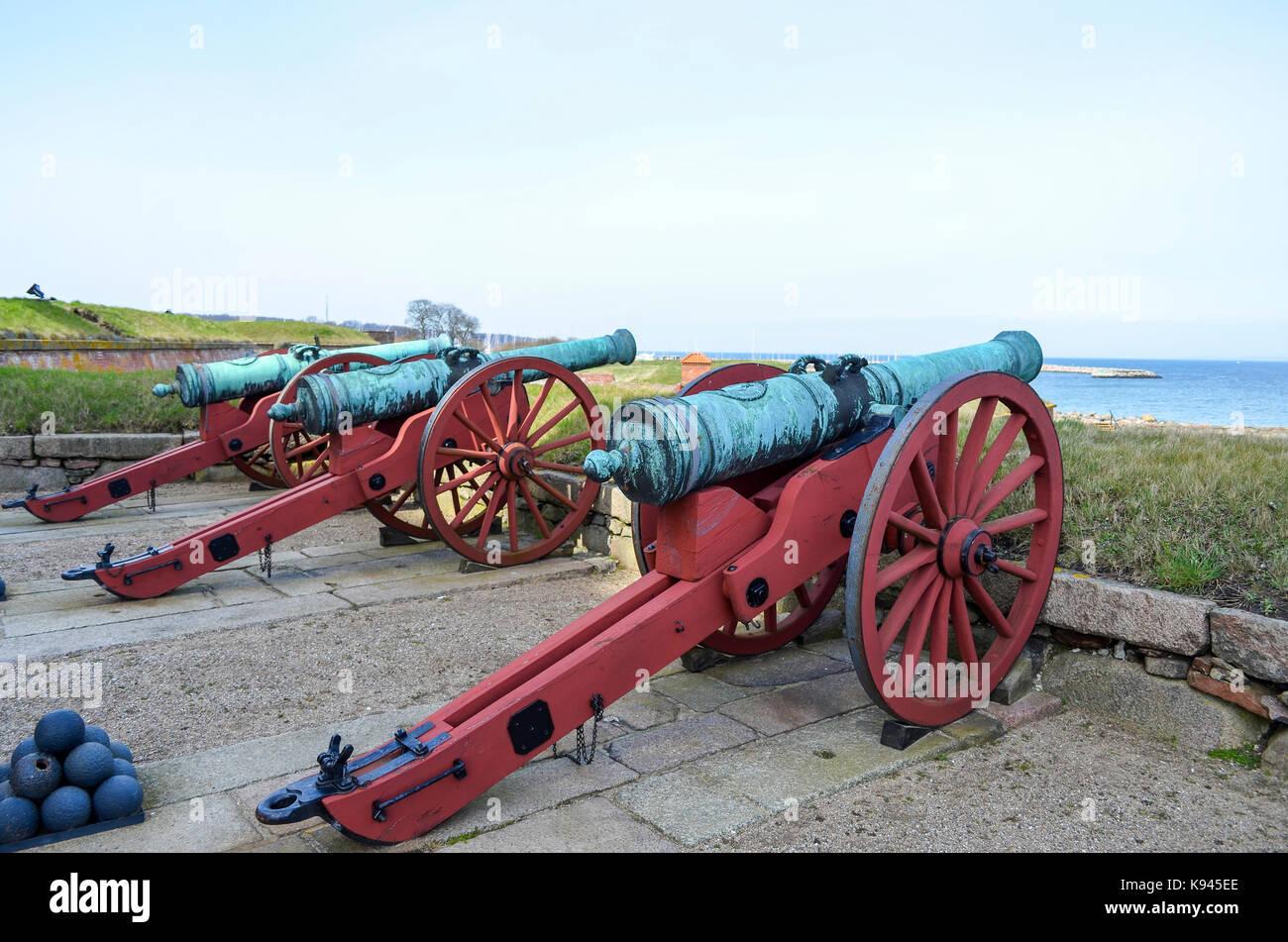 Old cannons outside Kronborg Castle, Helsingor, Denmark. - Stock Image