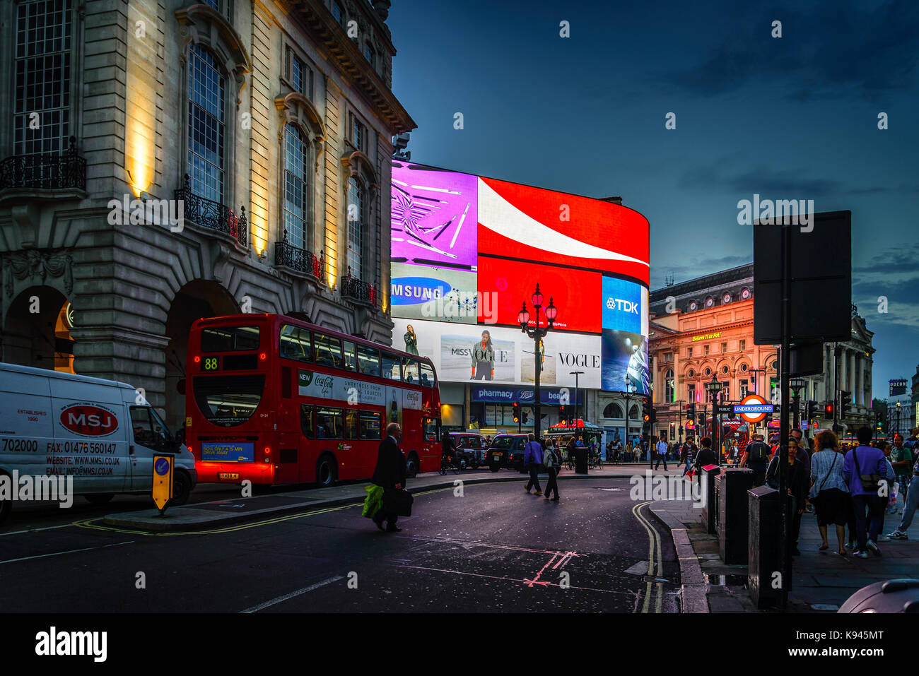 Piccadilly Circus in London at night Stock Photo
