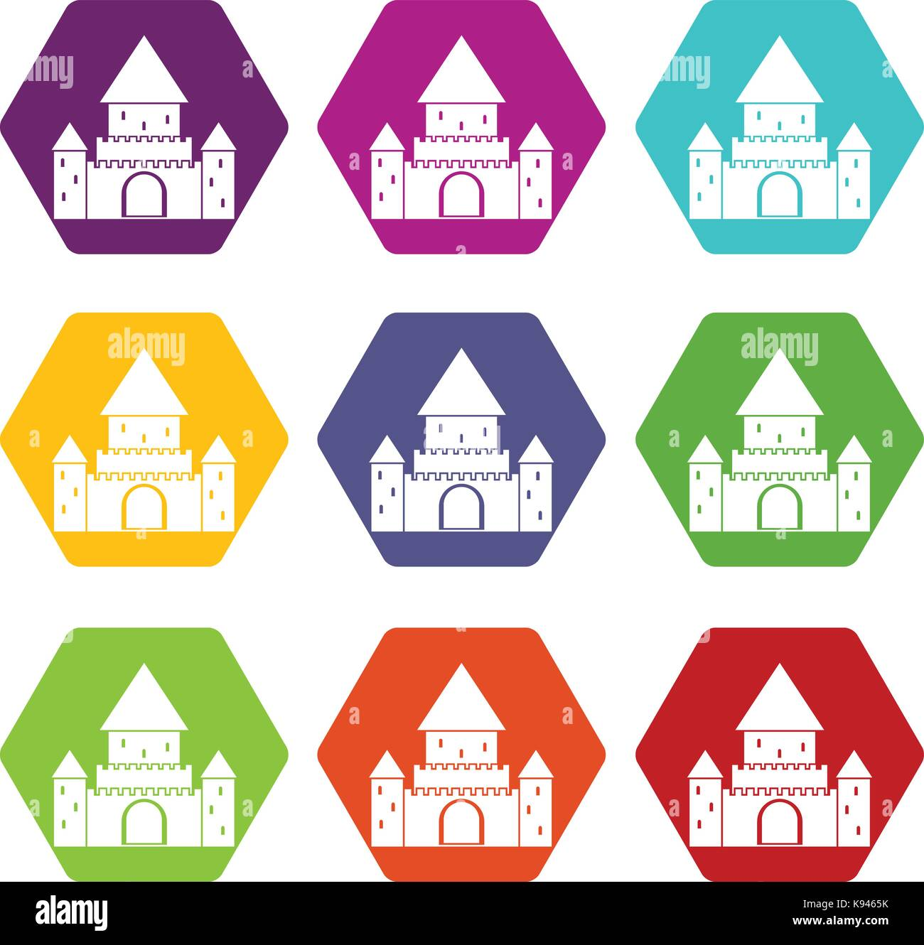 Chillon Castle, Switzerland icon set color hexahedron - Stock Vector