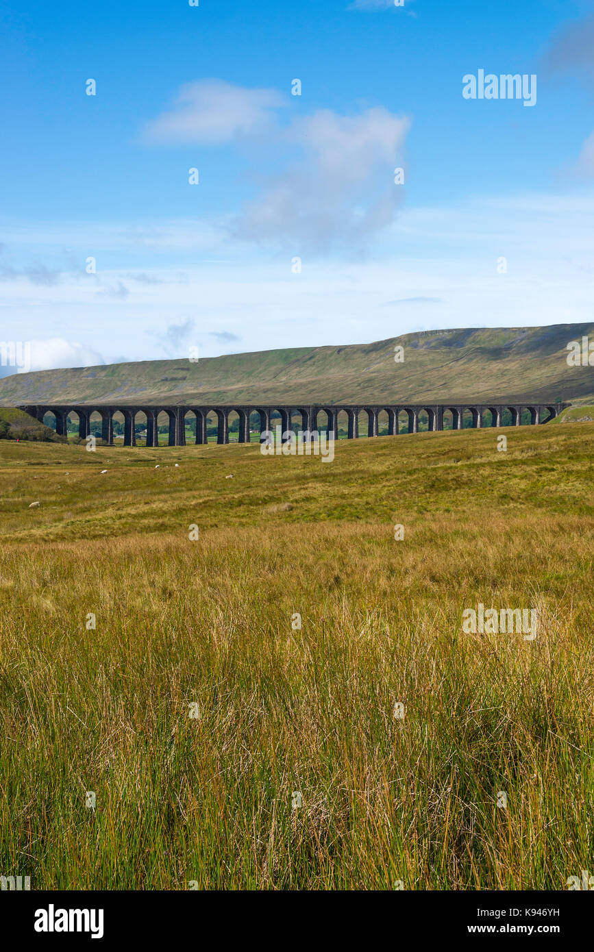 The Ribblehead Viaduct Carrying Settle to Carlisle Railway over Batty Moss at Ribblehead North Yorkshire England - Stock Image