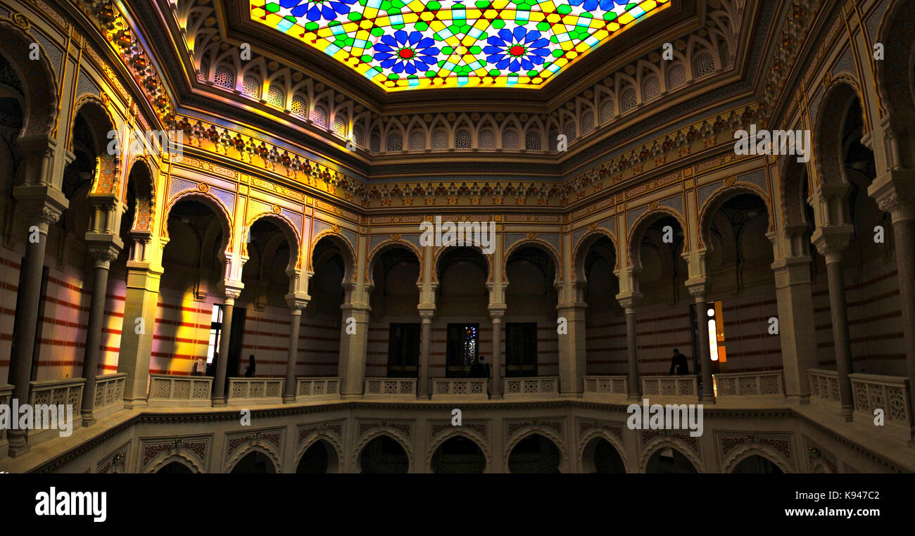 Vijećnica is the most extravagant building constructed in Sarajevo during Austro-Hungarian occupation and serves - Stock Image