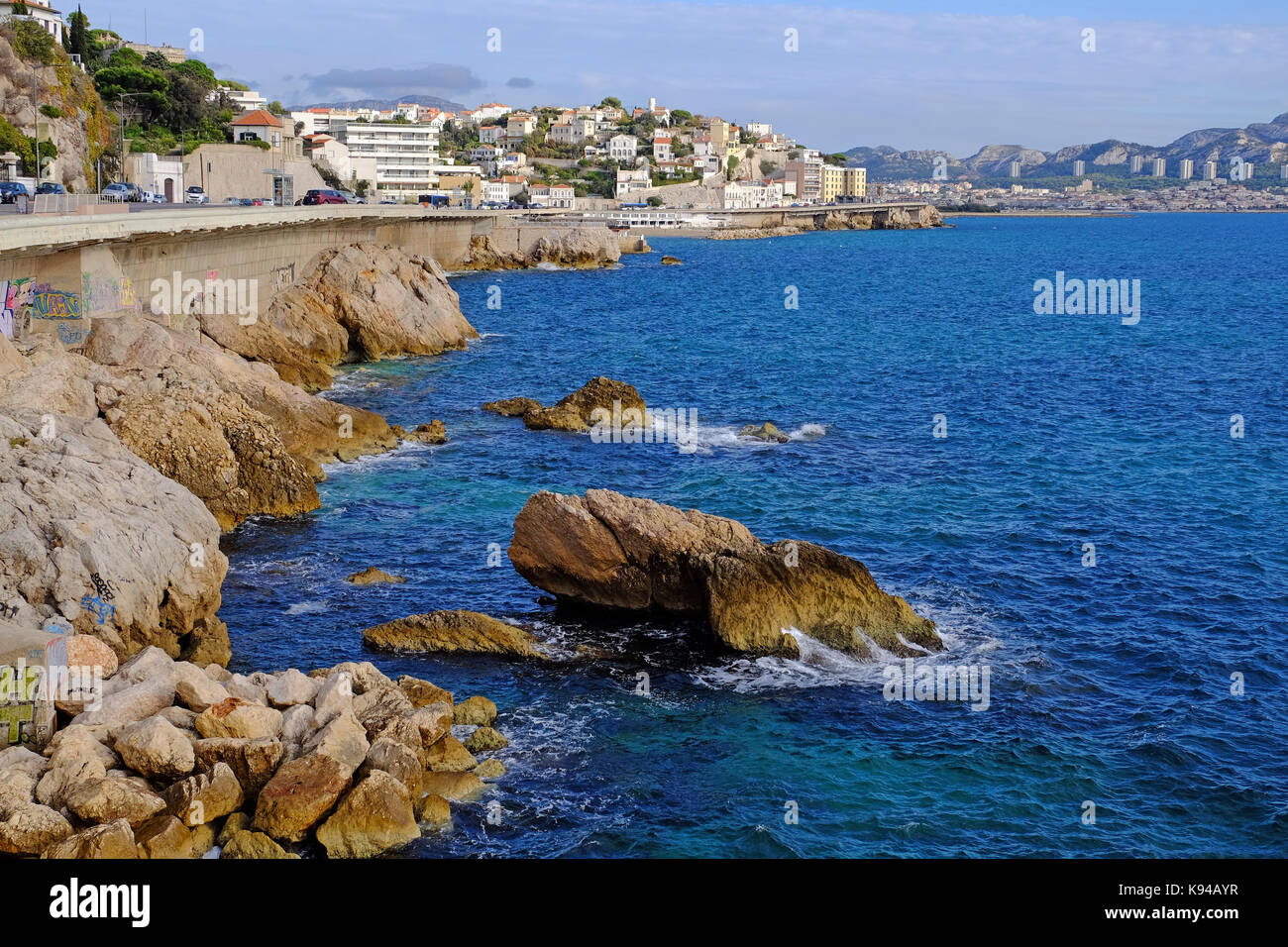 The Corniche road along the Mediterranean sea in Marseilles, Provence, South of France - Stock Image