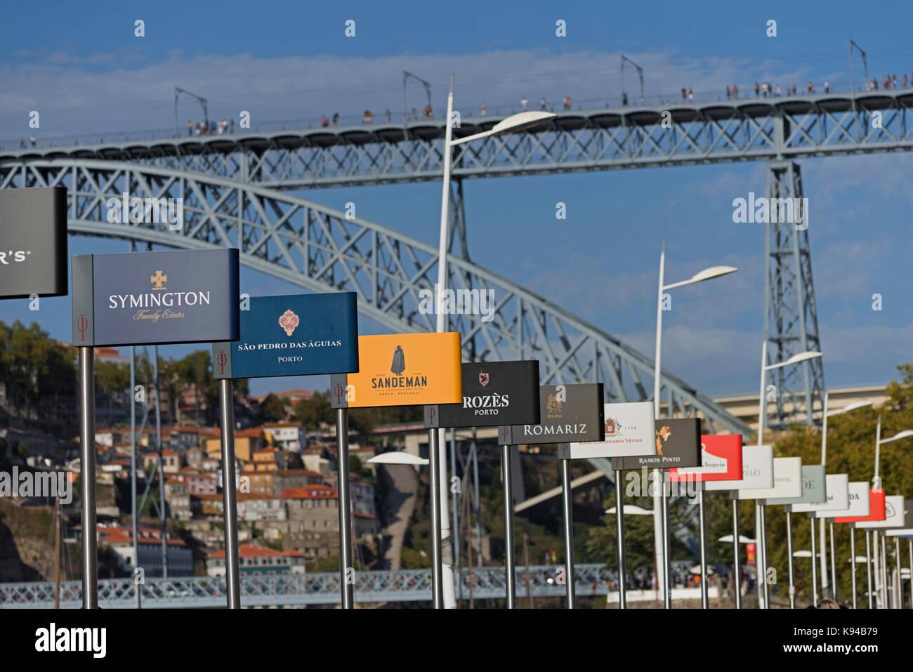 Port signs Vila Nova de Gaia Porto Portugal - Stock Image