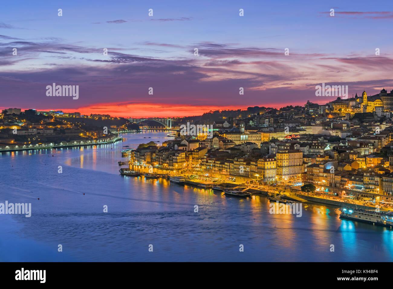 City view to Ribeira and Douro River Porto Portugal - Stock Image