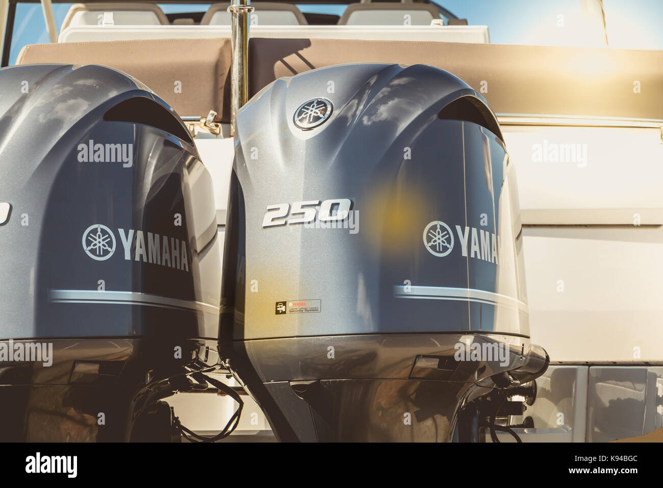 TALMONT SAINT HILAIRE, FRANCE - September 23, 2016 : close-up of the cowling of a couple of yamaha outboard motors - Stock Image