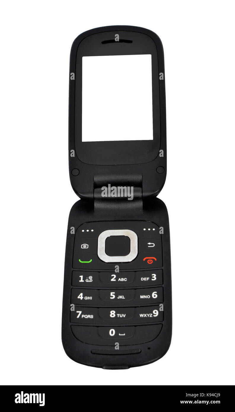 Vertical straight on shot of an opened flip phone with a blank screen.  White background. - Stock Image