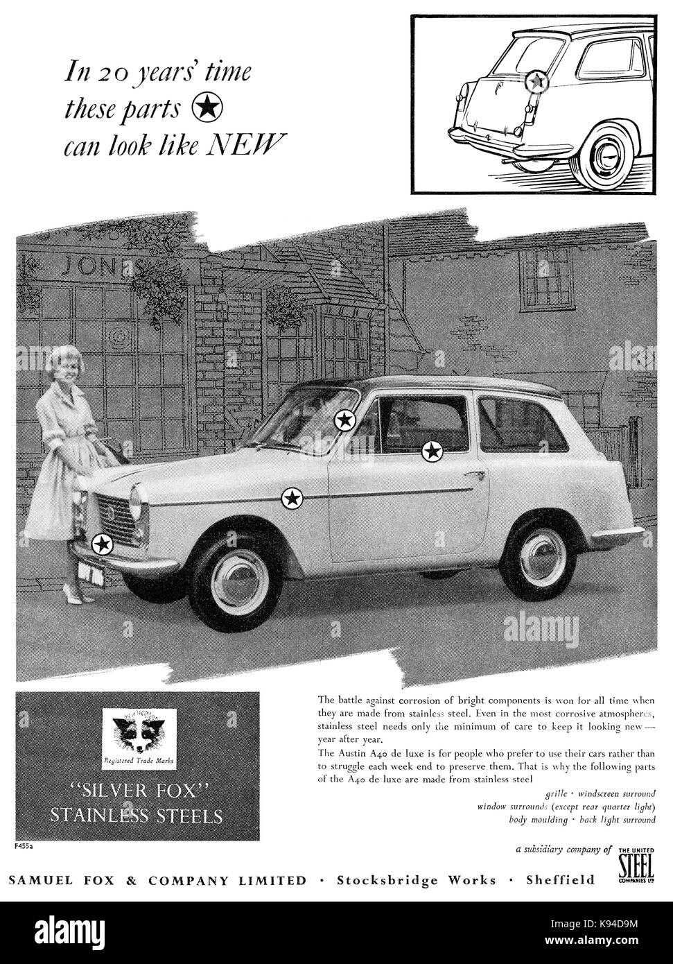 1959 British advertisement for stainless steel by Samuel Fox & Company, featuring the Austin A40 motor car. - Stock Image
