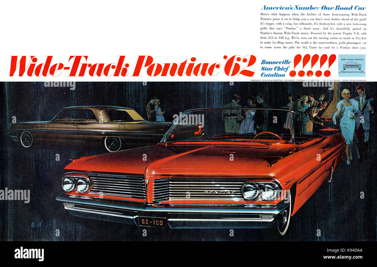 1961 U.S. advertisement for General Motors' 1962 range of Pontiac automobiles. - Stock Image