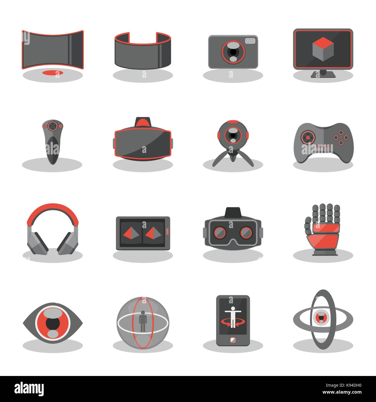 Flat icons for Virtual Reality innovation technologies, AR glasses