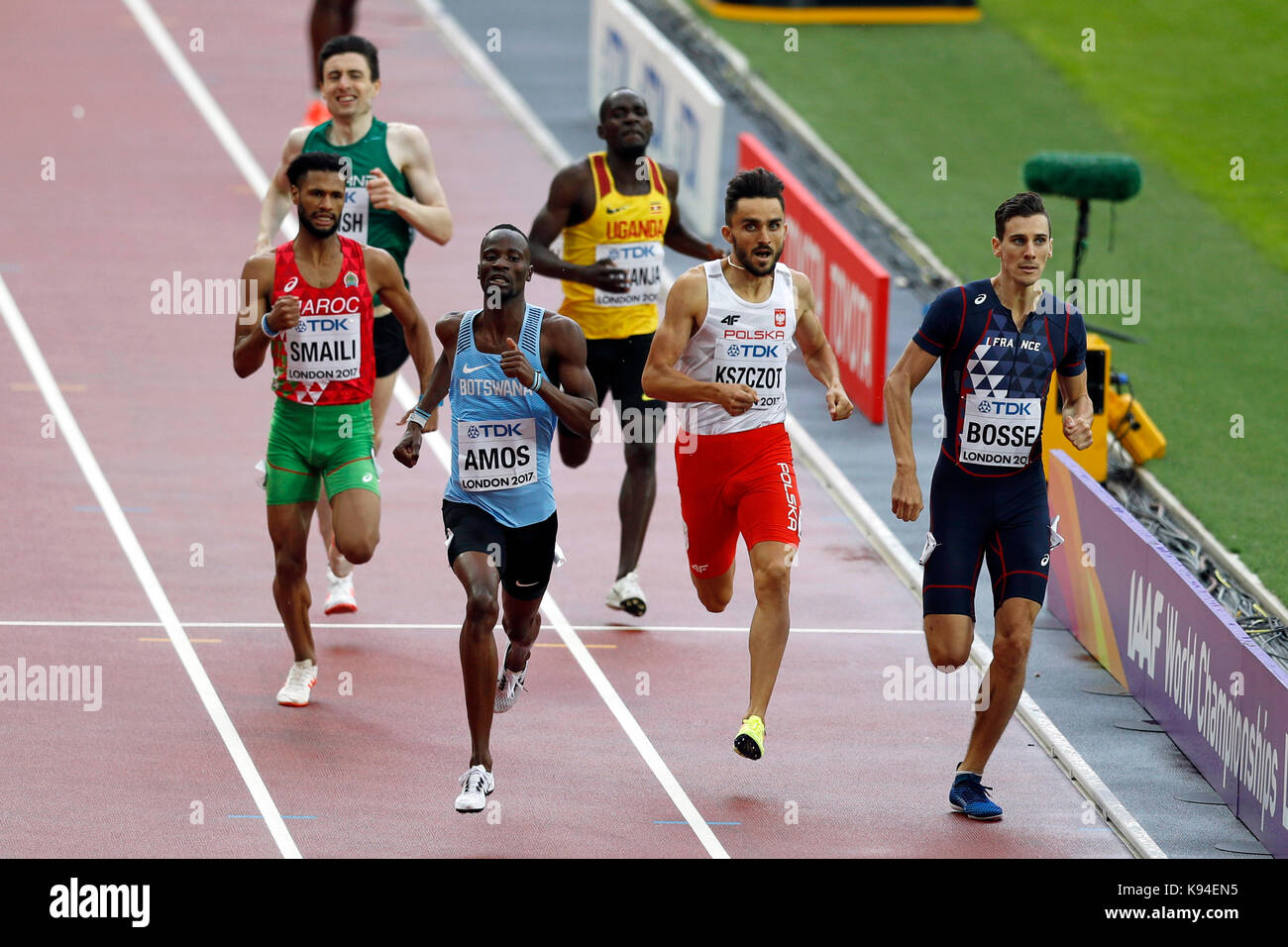Adam KSZCZOT (Poland), Nijel AMOS (Botswana), Pierre-Ambroise BOSSE (France) competing in the Men's 800m Heat - Stock Image