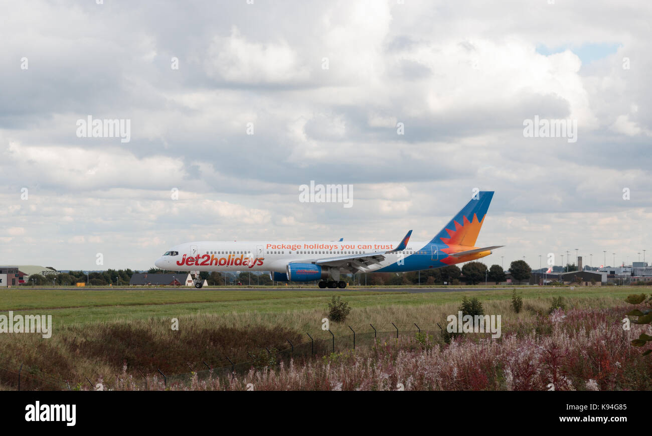 Boeing 757 aircraft, operated by Jet2 Holidays, taxying prior to departure from Leeds Bradford Airport - Stock Image