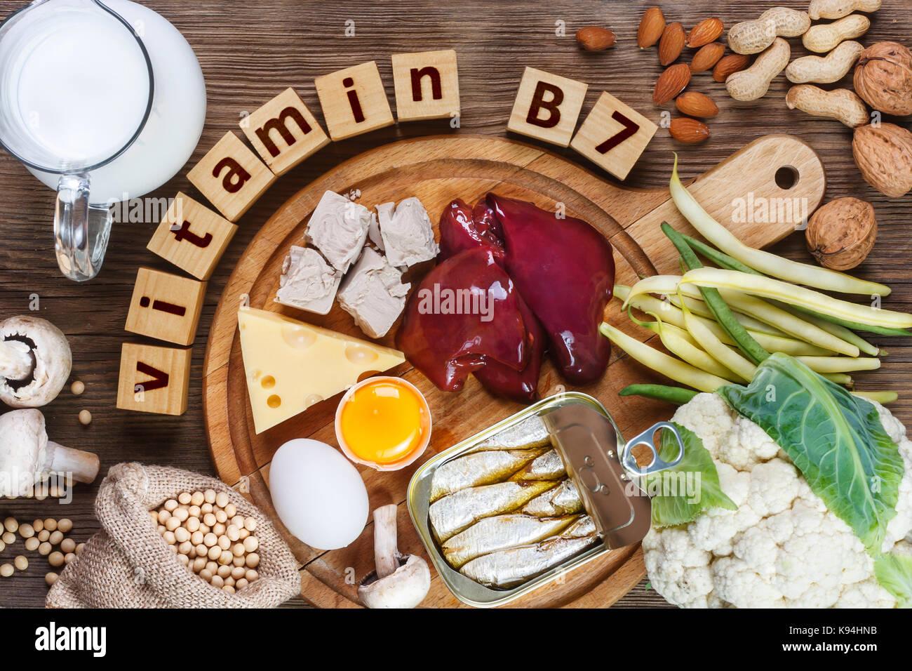 Foods rich in vitamin B7 (Biotin). Foods as liver, eggs yolk, yeast, cheese, sardines, soybeans, milk, cauliflower, - Stock Image