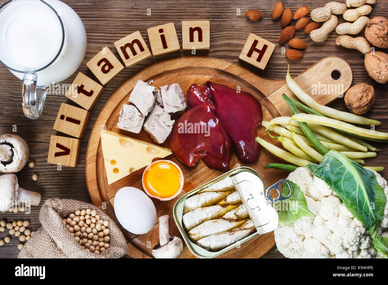 Foods rich in vitamin H (Biotin). Foods as liver, eggs yolk, yeast, cheese, sardines, soybeans, milk, cauliflower, - Stock Image