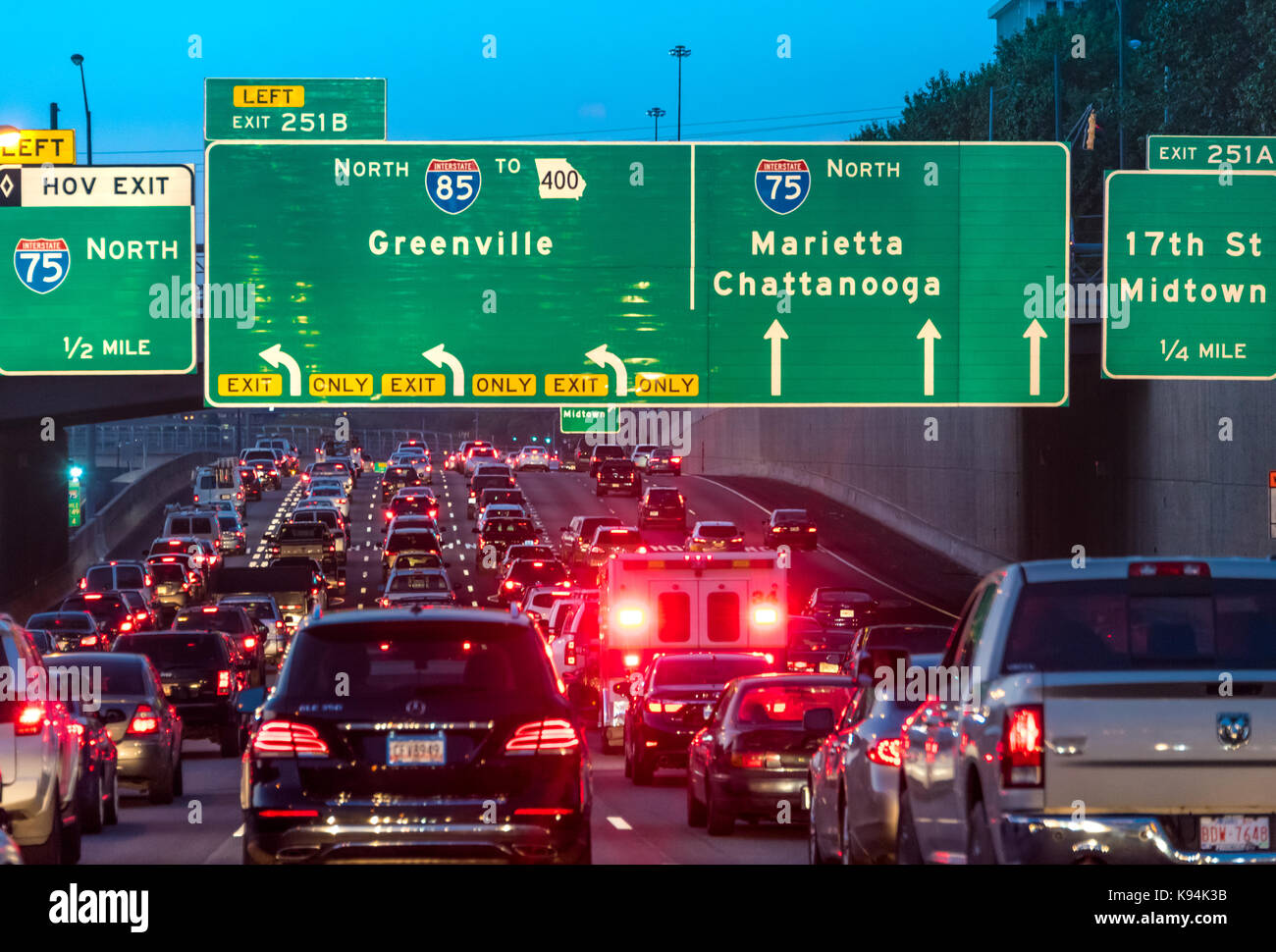 Atlanta, Georgia traffic congestion on the Downtown Connector where I-75 and I-85 are merged through the heart of - Stock Image