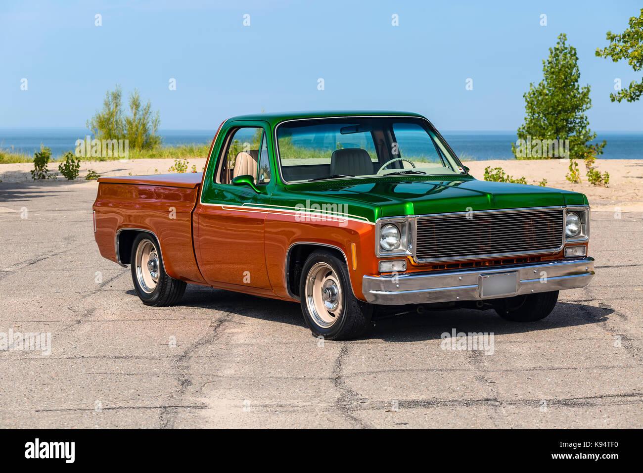 1975 GMC  Siera Grande Two Tone Pickup Truck Stock Photo