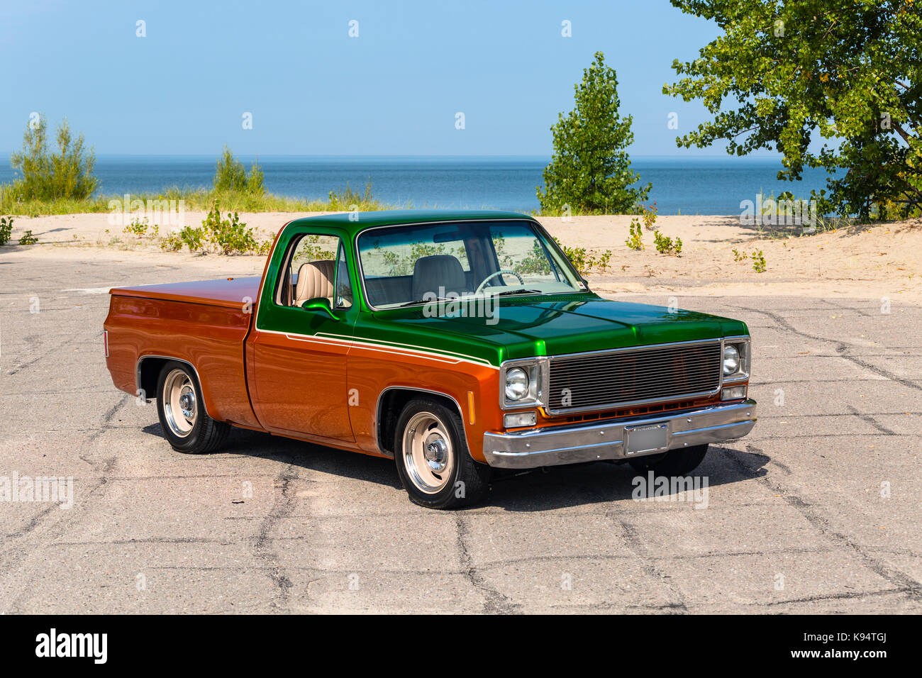 1975 GMC  Siera Grande Two Tone Pickup Truck - Stock Image