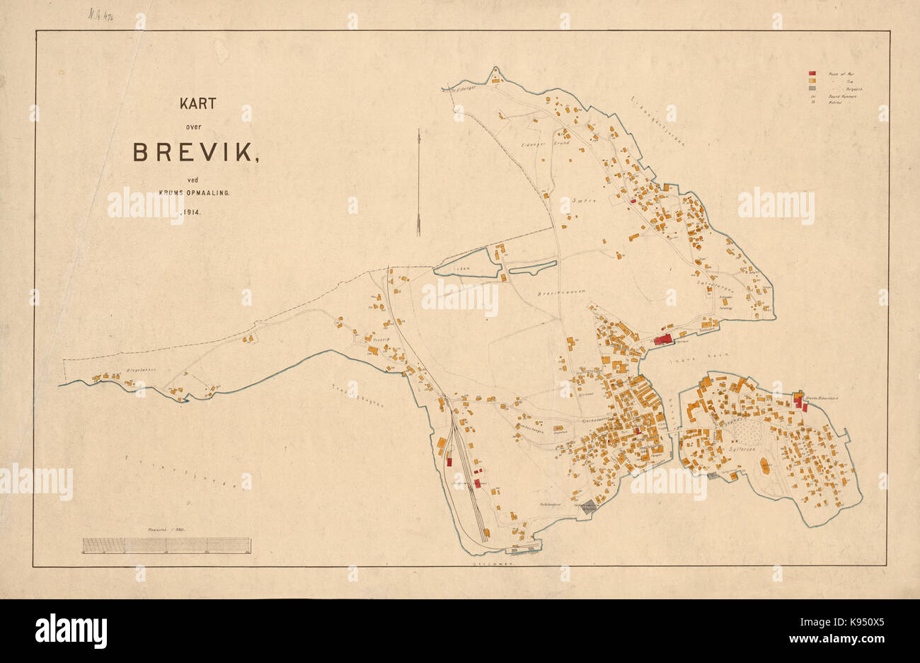 kart over brevik Kart over Brevik 1914 No nb krt 01283 Stock Photo: 160535709   Alamy kart over brevik