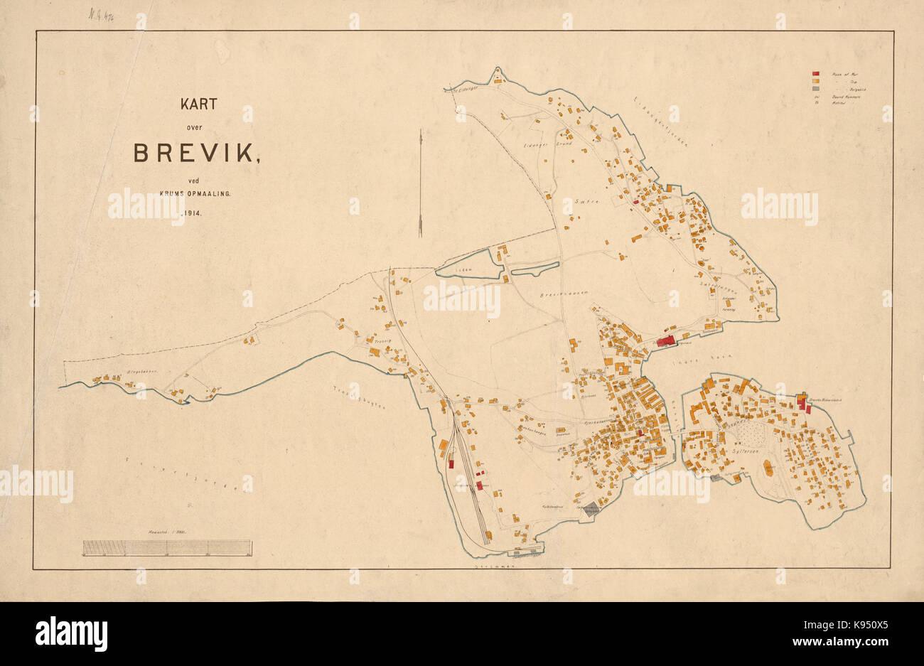 Kart over Brevik 1914   No nb krt 01283 Stock Photo
