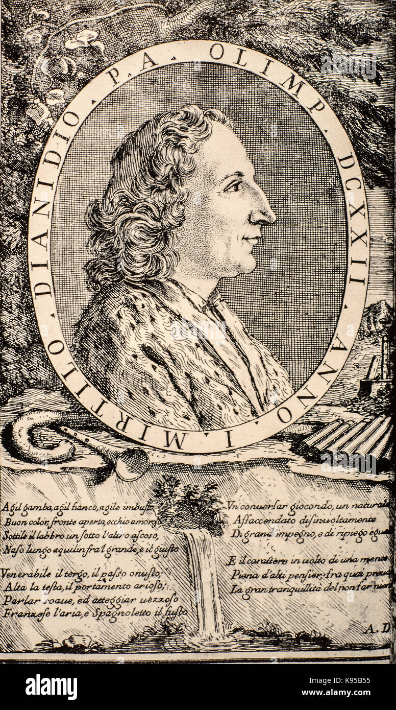 Pier Jacopo Martello or Martelli  (Bologna, 28 April 1665 – Bologna, 10 May 1727) -Italian  poet and playwright. - Stock Image