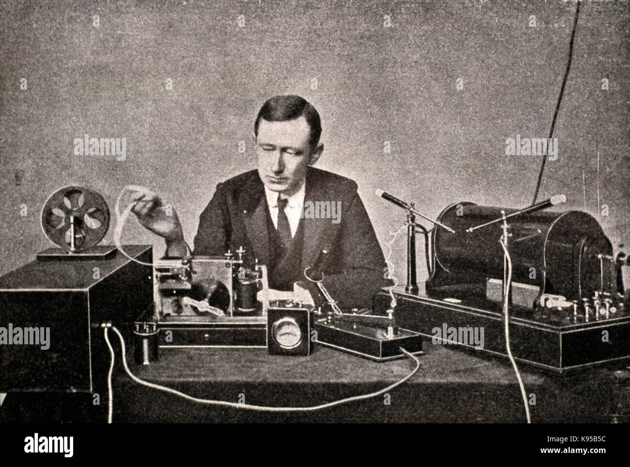 Guglielmo Marconi ,with its first transmitter and receiver telegraphic radio - Stock Image