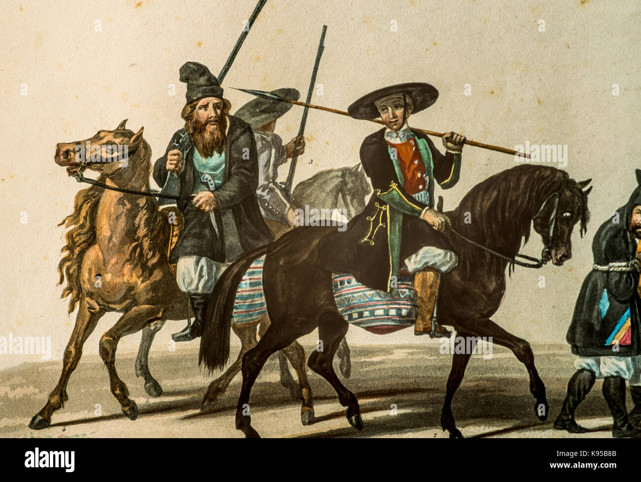 """Ancient Paint from the """"Voyage en Sardaigne"""" by La Marmora 1826 - Militants in service Stock Photo"""