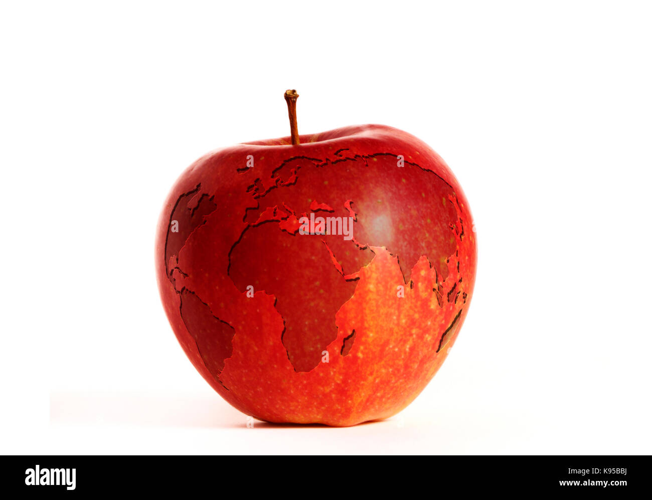 Food world map stock photos food world map stock images alamy world map carved into a red apple stock image gumiabroncs Images