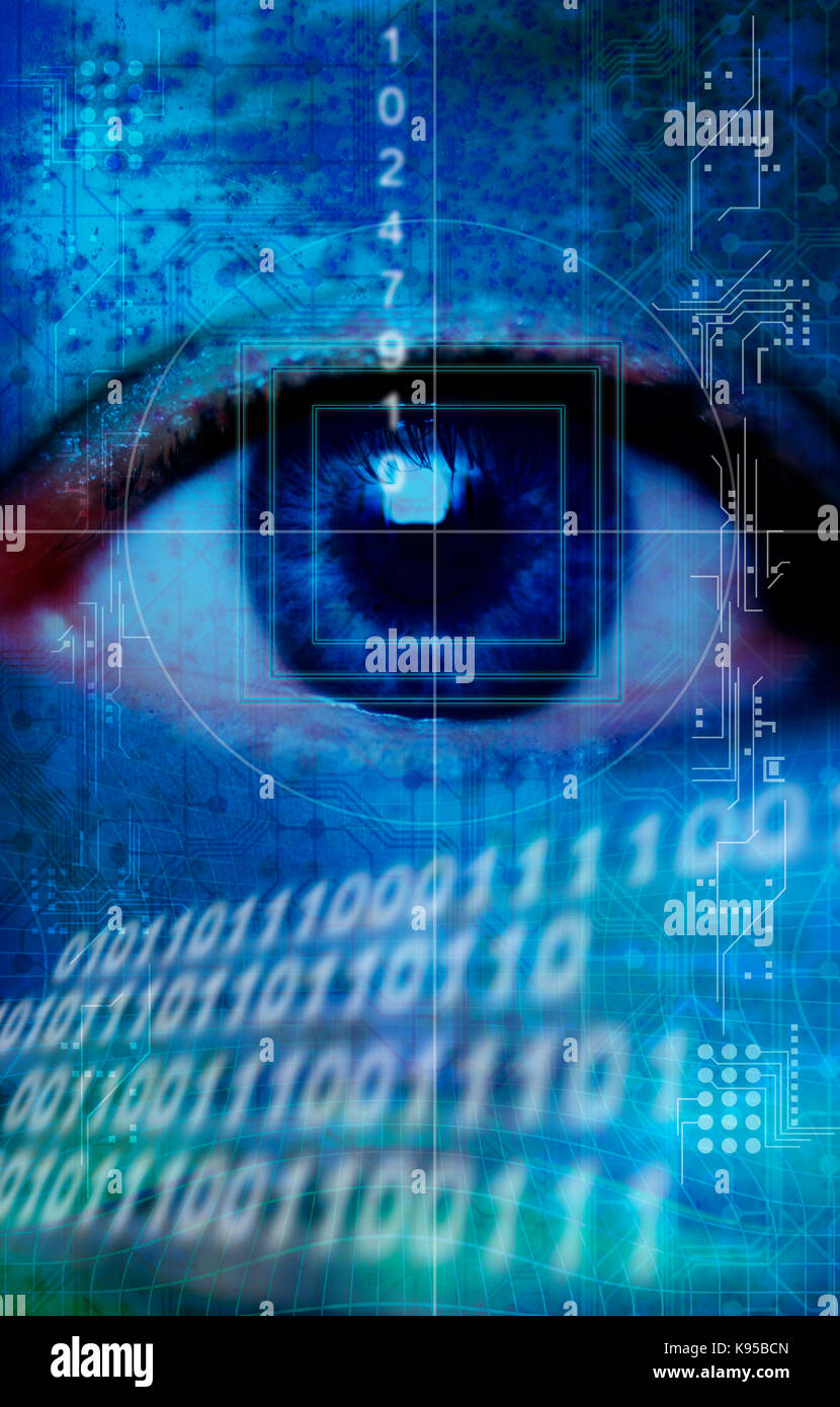 eye scanning, biometric secure ID scan concept - Stock Image