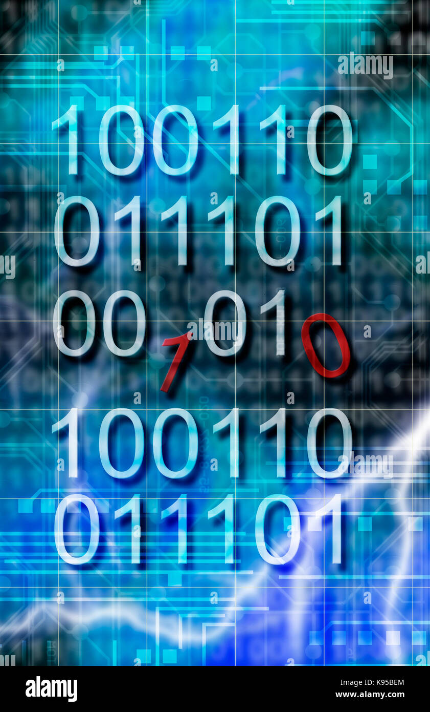 binary code disrupted, computer virus concept - Stock Image