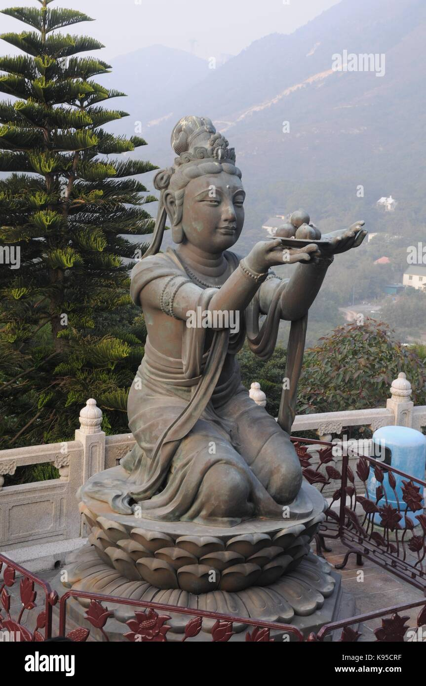 Tian Tan Buddha, The Big Buddha and Po Lin Monastery  Inside the Buddha is a Buddhist memorial site with named plaques Stock Photo