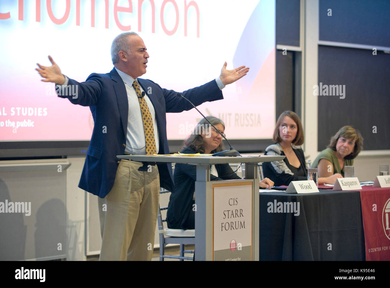 Russian dissident Garry Kasparov speaks from the Starr Forum podium at MIT. - Stock Image