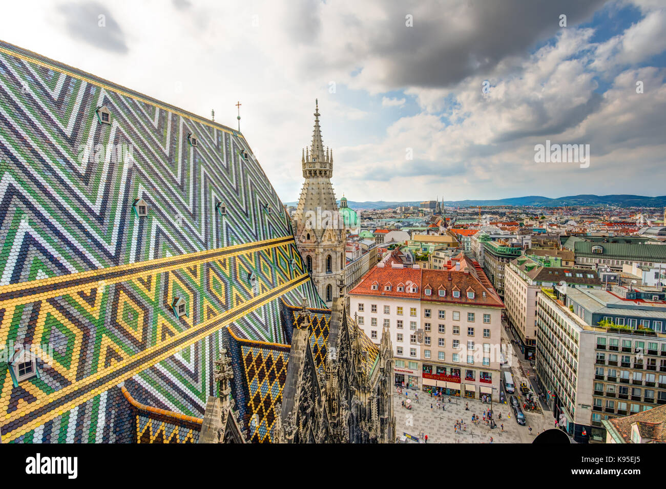 VIENNA, AUSTRIA - AUGUST 28:  St. Stephen's cathedral and eerial view over the cityscape of Vienna, Austria - Stock Image