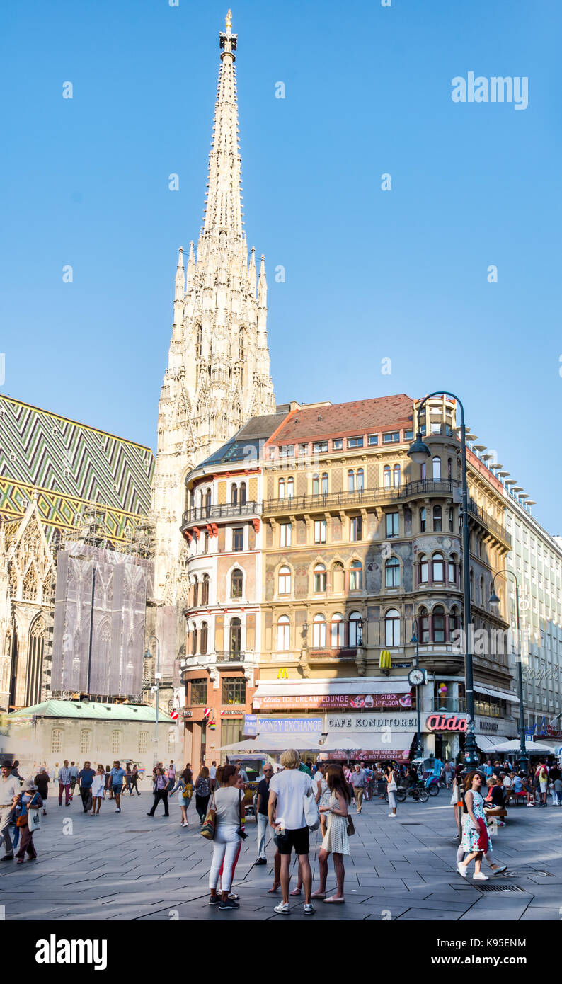 VIENNA, AUSTRIA - AUGUST 30: People in the pedestrian area at St. Stephen's Cathedral in Vienna, Austria on August Stock Photo