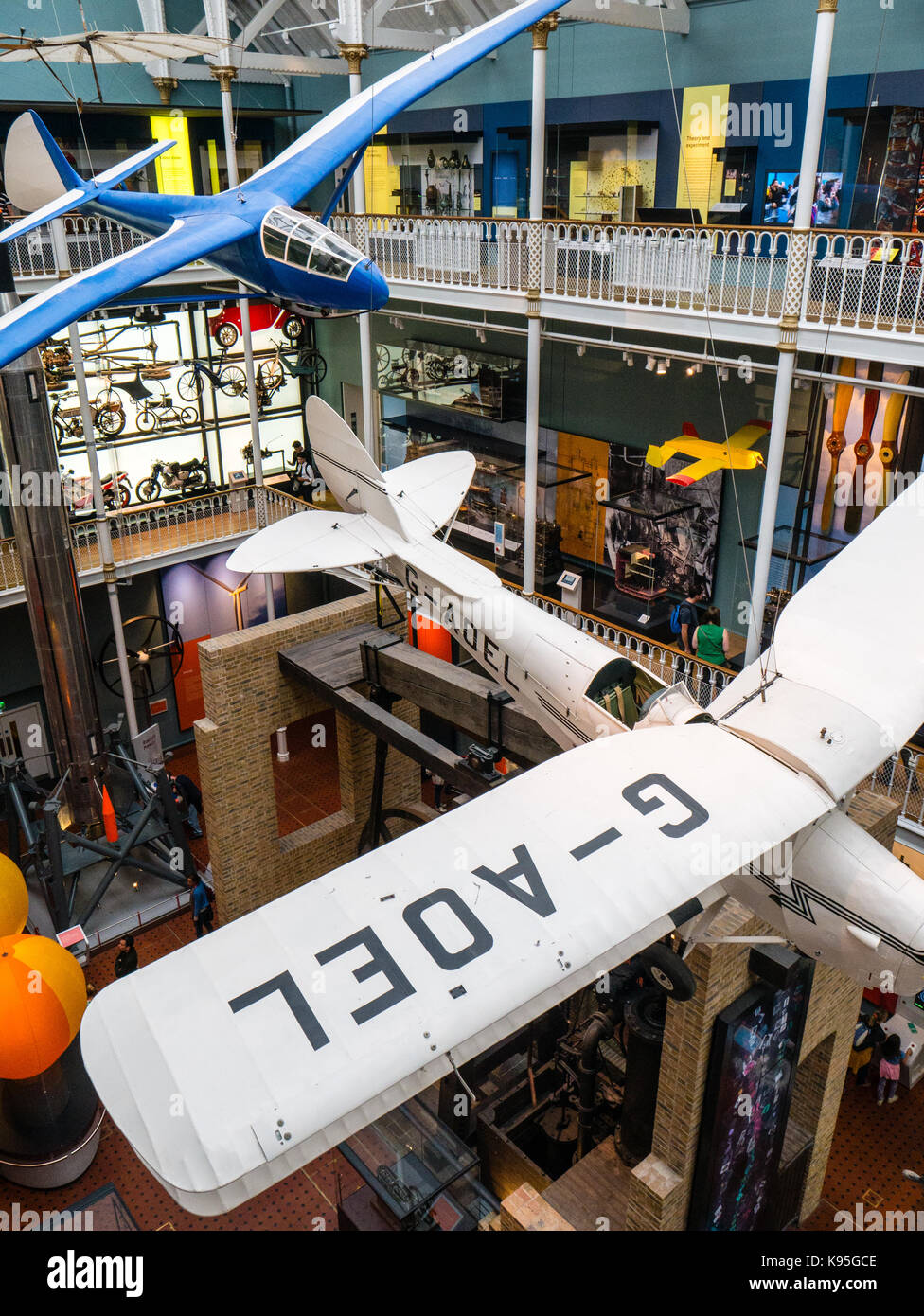 Science Hall view from above with Aeroplanes, The National Museum of Scotland, Edinburgh, Scotland - Stock Image