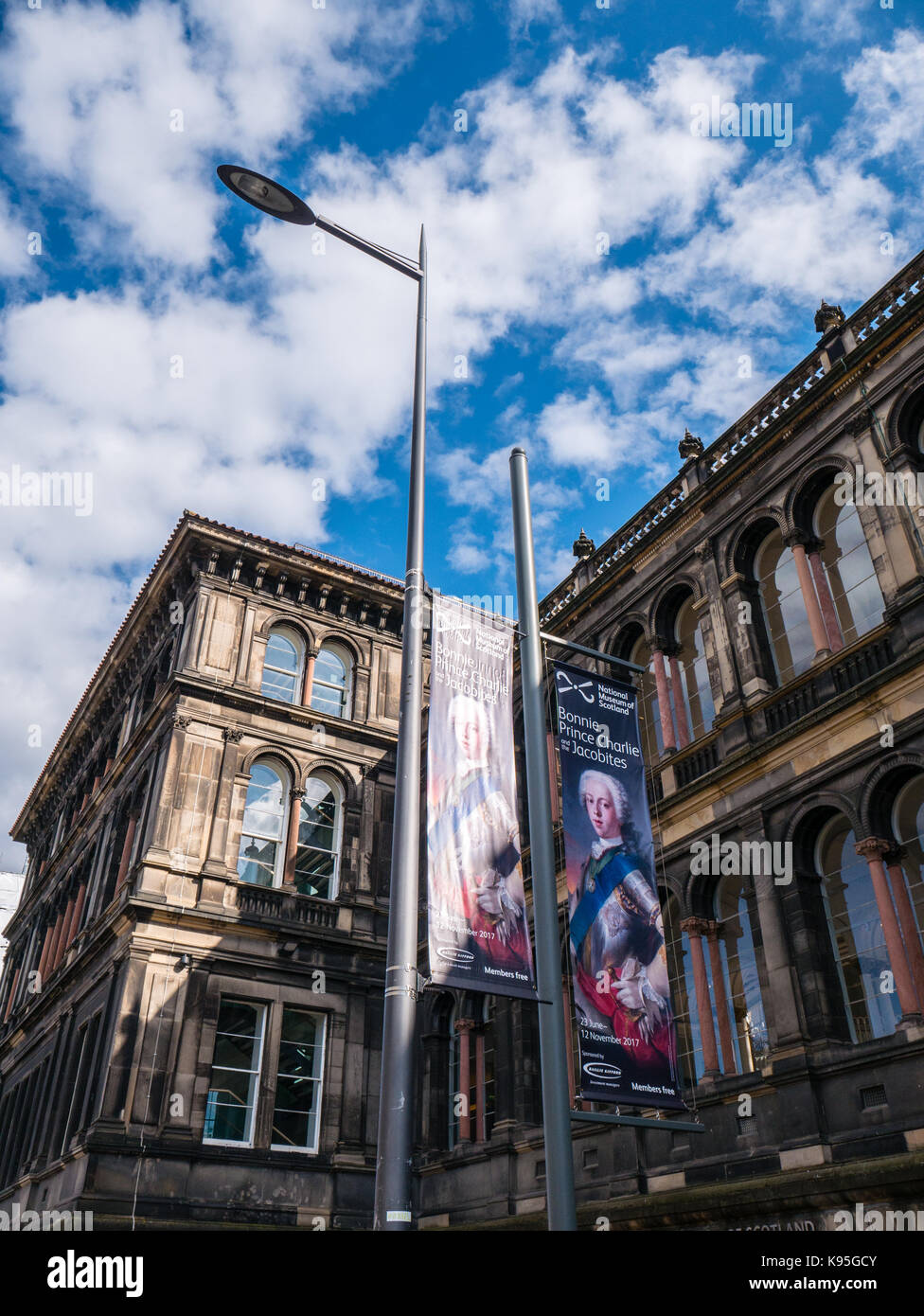 Banners outside of National Museum of Scotland, Old Town, Edinburgh, Scotland. - Stock Image