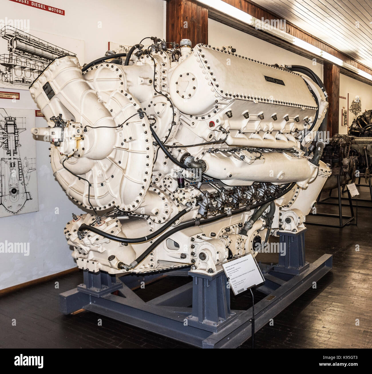 The engine of the old plane. - Stock Image