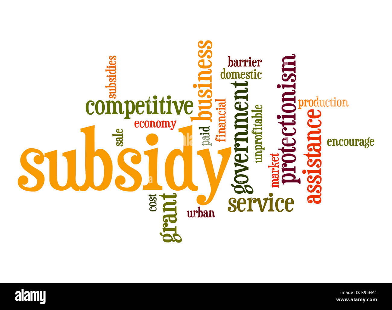 Subsidy word cloud - Stock Image