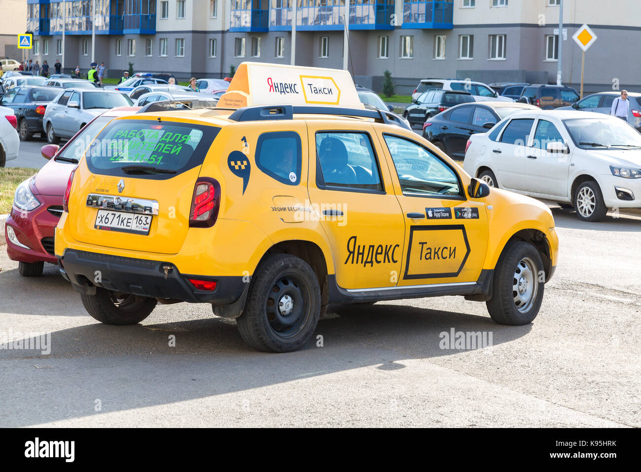 Samara, Russia - September 17, 2017: Yandex taxi at the city street in Samara, Russia - Stock Image