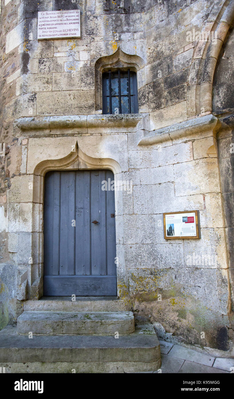 Detail of the ancient clock tower in Avallon, Yonne, Burgundy, France - Stock Image