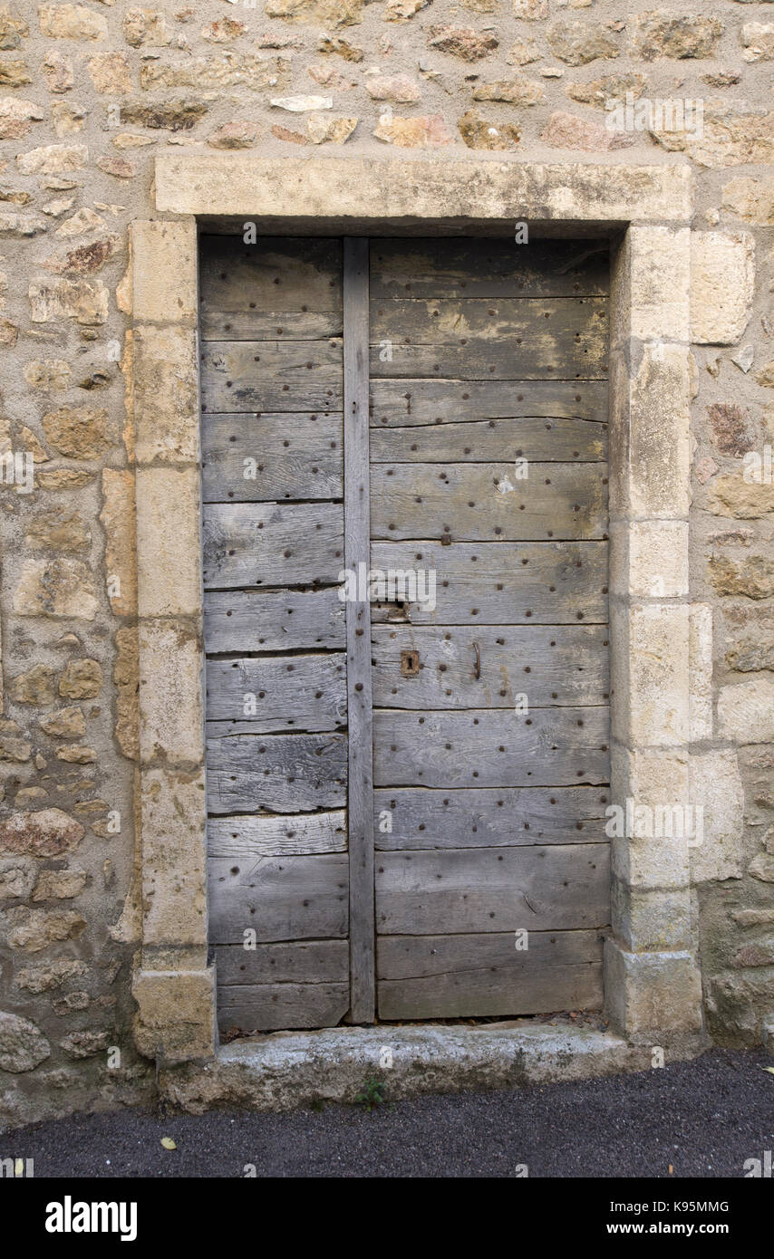 Ancient wooden door, Avallon, Yonne, Burgundy, France - Stock Image