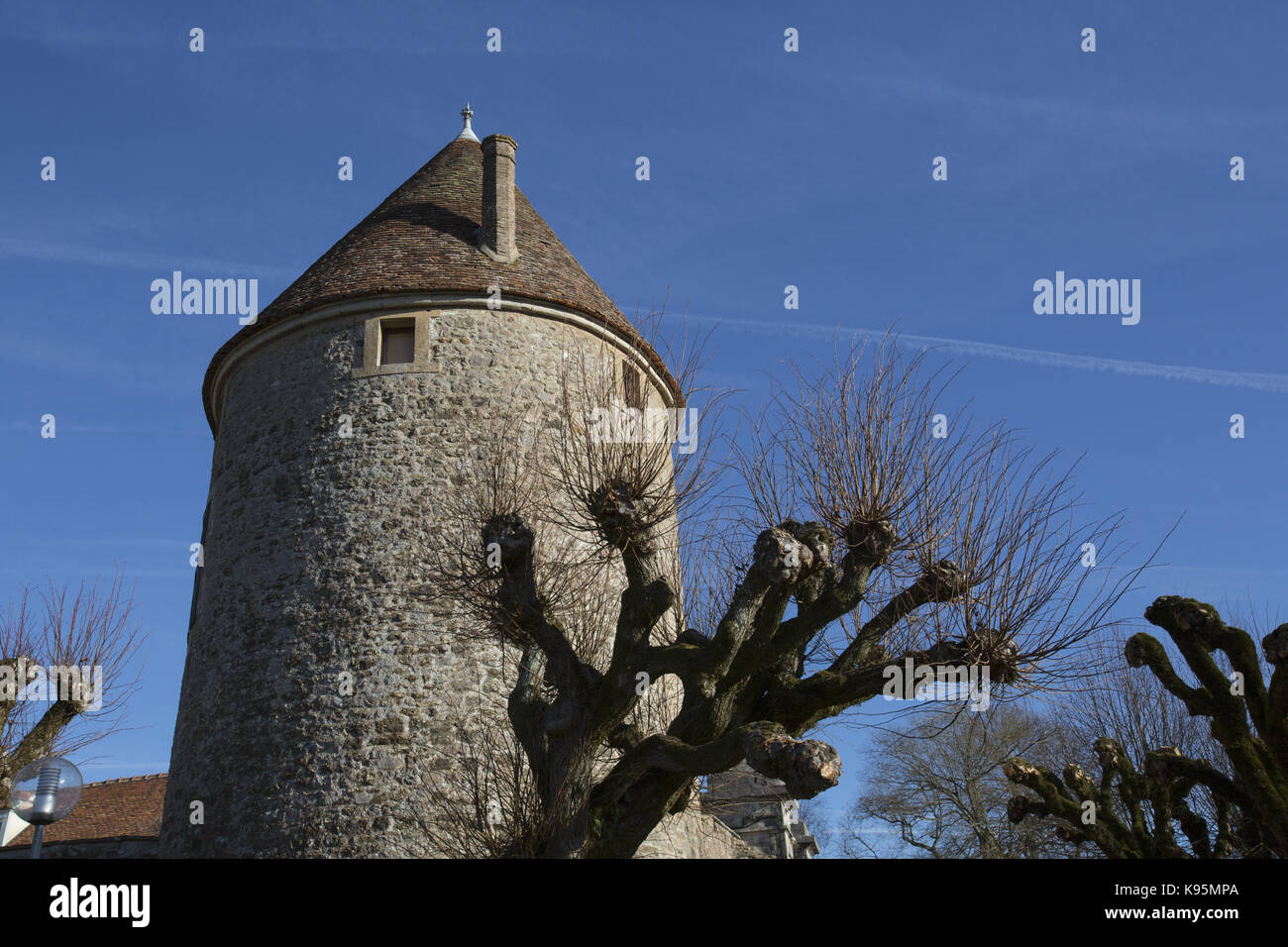 Medieval round tower, part of the fortifications in Avallon, Yonne, Burgundy, France - Stock Image