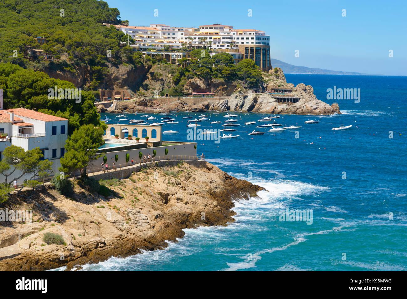 Aerial view of Sa Tuna beach resort Costa Brava Spain Stock Photo