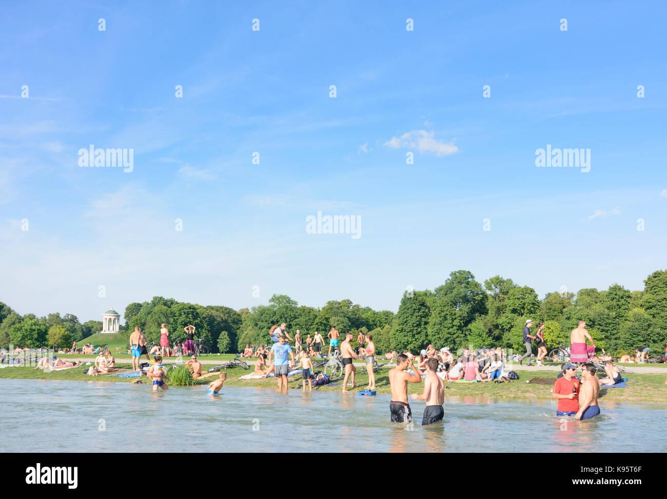 Englischer Garten (English Garden), view to Monopteros, stream Schwabinger Bach, bather, sunbather, people, München, - Stock Image
